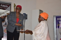 ICPC Spokesperson and Director, Public Enlightenment, Mrs. Rasheedat Okoduwa, presenting certificates to participants at the end of the workshop